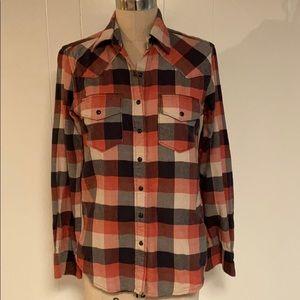 Cruel Girl boyfriend fit plaid western shirt